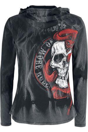 Rock Rebel Langarmshirt mit Kapuze und Skull-Print Langarmshirt