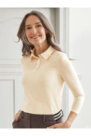 Avena Damen Longsleeves - Damen Polo-Shirt Weiss einfarbig