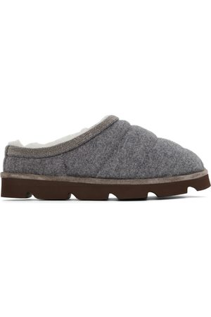 Brunello Cucinelli Grey Knitted Puffy Slippers