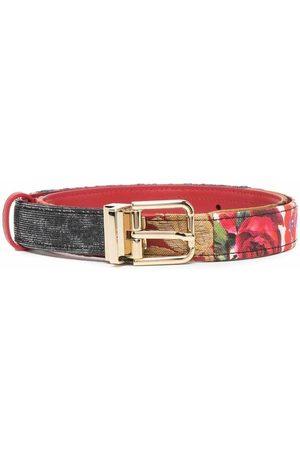 Dolce & Gabbana Rose-print belt , Damen, Größe: 80 cm