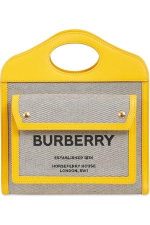Burberry Mini Tote Aus Leder Und Canvas Mit Logo