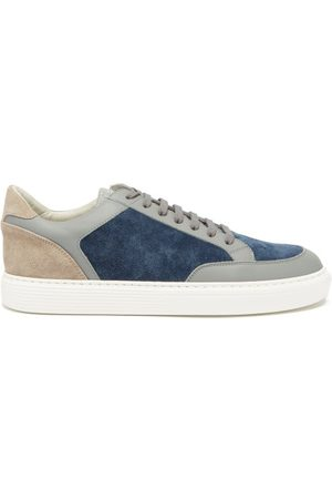 Brunello Cucinelli Panelled Suede And Leather Trainers