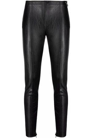 Armani Leather-look zip-cuff leggings