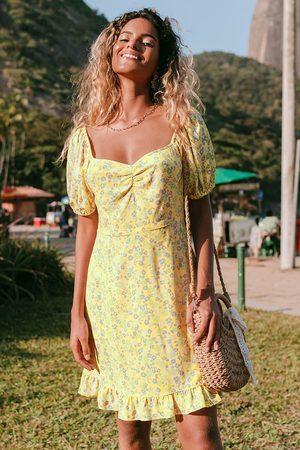 Cupshe Ditsy Kleid mit Puffärmeln in Gelb