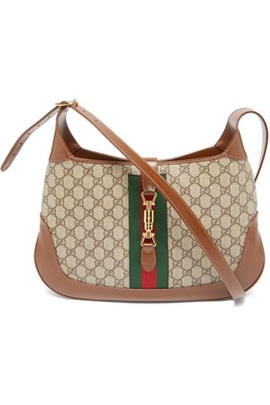 Gucci Gg- Logo Coated-canvas And Leather Shoulder Bag